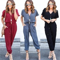 New Women Jumpsuit Short Sleeve V-Neck Sexy Rompers Womens Jumpsuit Long Pants Summer Jumpsuits For Ladies