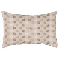 Beige Monogram And Name Dog Paws Pattern Dog Bed