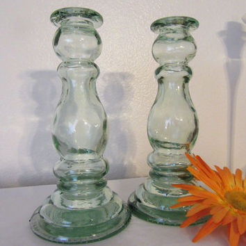 Unique Vintage Green Depression Glass Candlestick Holders - Set of 2 - Lovely Home Decor - Exceptional Gift Idea