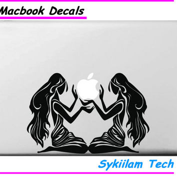 Long Hair Beauty Sticker for Macbook Skin Air 11 13 Pro 13 15 17 Retina for Apple Logo Laptop Computer Decal Creative Vinyl Case