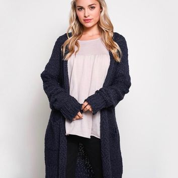 open-front long-line cardigan - navy