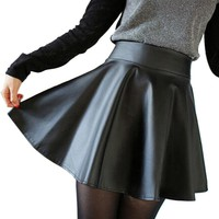 Women Skirt 2016 Korean Fashion Black PU Leather Skirt Women Vintage High Waist Pleated Skirt Free Shipping Female Short Skirts