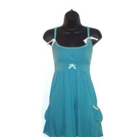 Upcycled Reconstructed Teal Summer Dress Fashion Sun Dress Womens Clothes Size Large