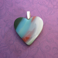 Heart Pendant, Blue Pink White Green Heart, Jewelry - Lovely - 4477 -1