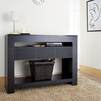 Modern Console Table Living Room Furniture With One Center Drawer Black Finish