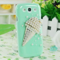 3D Cute Icecream Handmade Green Bling Crystal Case Cover for Samsung Galaxy S3 I9300