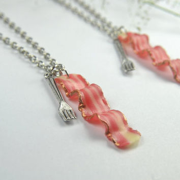 BFF Bacon Necklace Friendship Necklace (2pcs) - Food jewelry food necklace