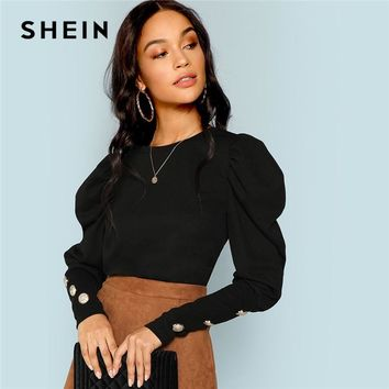 SHEIN Black Elegant Office Lady Puff Sleeve With Button Detail Long Sleeve Solid Tee 2018 Autumn Workwear Women Tops And T shirt