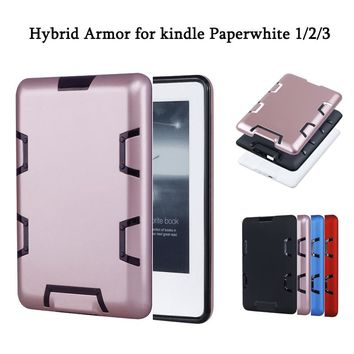 for Kindle Paperwhite 1 2 3 High Quality PC E-book Cover Case Hybrid Anti knock Armor Silicone Protective Sleeve Free Shipping