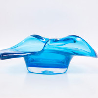 Vintage Blue Art Glass Hand Blown Handkerchief Bowl Persimmon Candy Dish Trinket Holder Bon Bon Teal Vase Encased Base