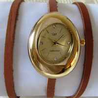 Handmade Oval Bracelet Wrap Gold Watch. 2012 New Orlogin Style Design. 20% Off - 69 Dolars Only. FREE SHIPPING
