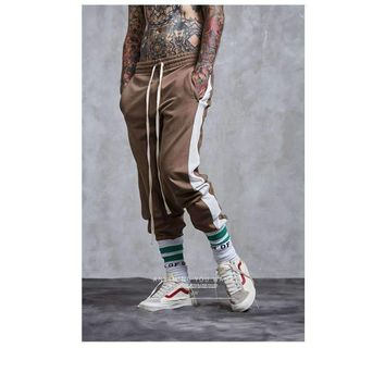 Harem Pants Men Patchwork Color Striped Retro Pants Elastic Waist Track Pants Trousers Mens Fashion Joggers Sweatpants