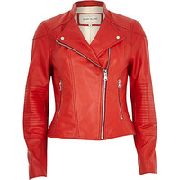 River Island Womens Red leather biker jacket