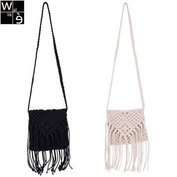 Wallike Women Trendy Shoulder Bag Crossbody Crochet Fringe Tassel Bag Messenger Handbag