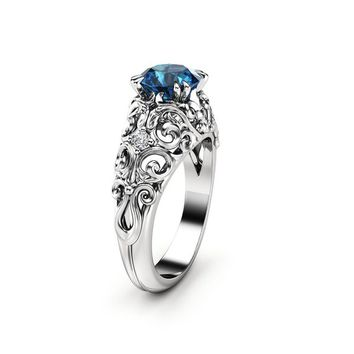Blue Diamond Engagement Ring 14K White Filigree Gold Ring Diamonds Unique Engagement Ring
