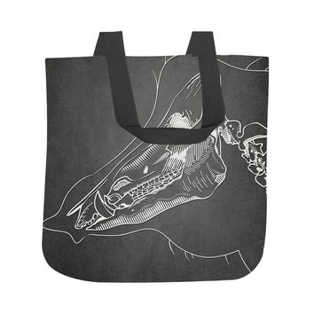 Boar Skeleton on Black Tote Bag