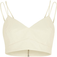 River Island Womens White leather-look bralet