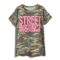 Rivet Camouflage Color T-shirt Style Dress