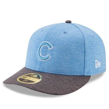 Men's Chicago Cubs New Era Graphite/Blue Father's Day 2017 Low Profile 59FIFTY Fitted Hat