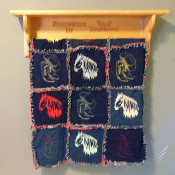 handmade wall hanging quilt rack with shelf personalize with any name