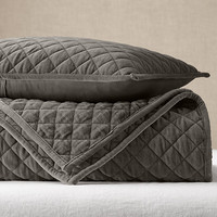Washed Velvet Diamond-Quilted Coverlet