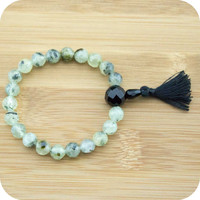 Faceted Prehnite Wrist Mala Bracelet with Black Onyx