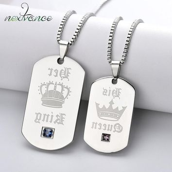 Cool Nextvance Crown Tag pendant Necklace Her King His Queen Couple Necklace for Lovers Valentines Day Gift Military Army JewelryAT_93_12
