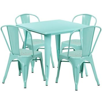 31.5'' Square Metal Indoor-Outdoor Table Set with 4 Stack Chairs (12 color options)