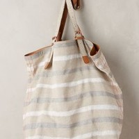 Striped Linen Tote by Miss Albright Silver All Bags