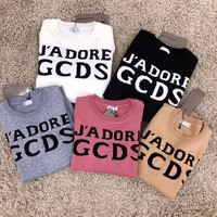 """GCDS"" Women Casual Fashion All-match Classic Letter Logo Long Sleeve Knit Sweater Tops"