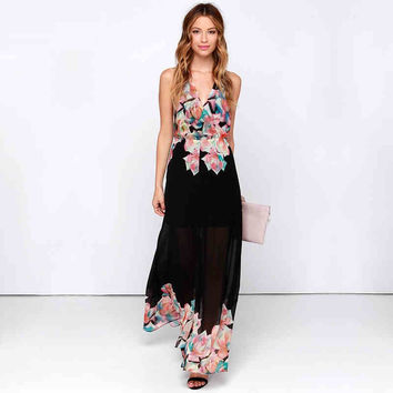 Black Halter Floral Print Open-Back Maxi Dress With Slit