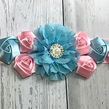 Beautiful Pink and Blue Maternity Sash