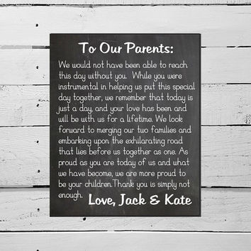 PRINTABLE Thank You Sign Mother of the Bride Father of the Bride Thank You Chalkboard Wedding Sign Wedding Decor Parents Thanks Ceremony Art