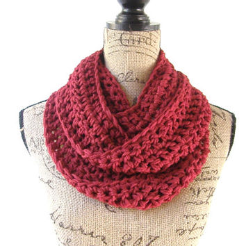 Cranberry Dark Red Cowl Scarf Fall Winter Women's Accessory Infinity