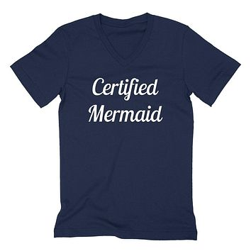Certified memaid funny cool saying love swimming I'm a mermaid birthday gift  V Neck T Shirt