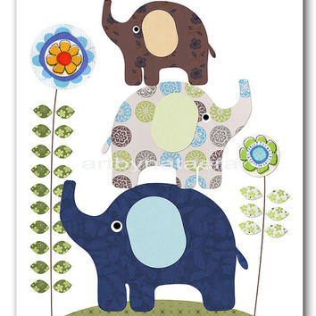 "Art for Children , Kids Wall Art, Baby Boy Room Decor, Nursery print 8"" x 10"" Print,elephant,flower,green,blue,collage,artwork,decoration"