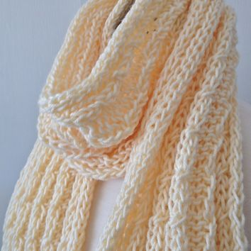Chunky Hand Knit Scarf in Cream Yarn