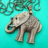 Large Detailed Elephant Pendant Necklace in Bronze | Animal Jewelry