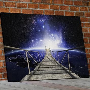 Galaxy Walk In Space Canvas Wall Art Space Galaxy Bridge