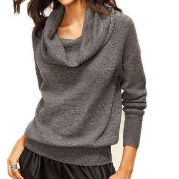 COLROVIE Grey Convertible Neck Long Sleeve Knitted Top Women Casual Knitwear Fall Sexy Loose Sweater