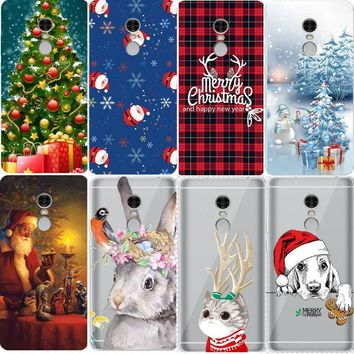 Christmas Santa Claus Painted Crystal Clear Cases for Xiaomi Redmi 4X Note 4X 3 3S Pro Note 5A Case Coque