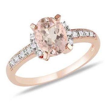 Oval Morganite and Diamond Accent Engagement Ring in Rose Rhodium Plated Sterling Silver - View All Rings - Zales
