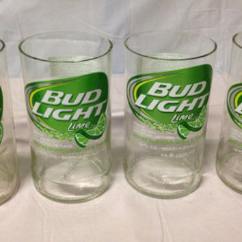 Bud Light Lime Beer Bottle Tumbler Drinking Glasses. Recycled Glass Bottles. Man Cave.