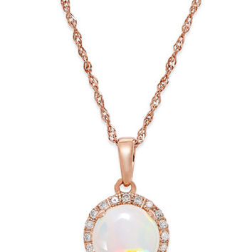 Opal (3/4 ct. t.w.) and Diamond Accent Pendant Necklace in 14k Rose Gold - Necklaces - Jewelry & Watches - Macy's