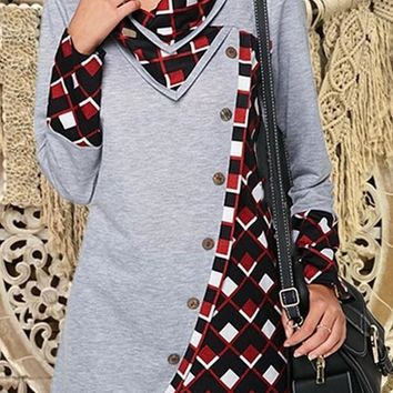New Grey Patchwork Buttons Cut Out V-neck Long Sleeve Fashion Pullover Sweatshirt