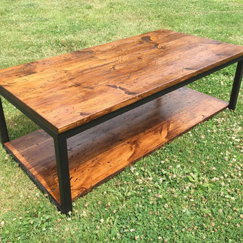 Rustic Wood and Metal Coffee, Cocktail Table