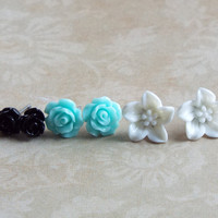 Tiny Rose Studs Lily Studs Set of Stud Earrings Floral Jewelry White Black and Baby Blue Boutique