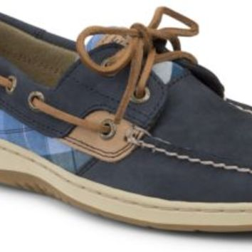 Sperry Top-Sider Bluefish Plaid 2-Eye Boat Shoe NavyNubuck/BluePlaid, Size 8M  Women's Shoes