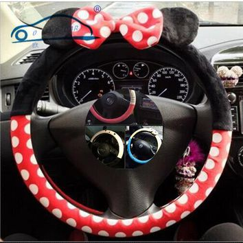 Car Styling Bow Car Steering Wheel Cover cute Cartoon Universal Interior Accessories comfortable and good quality 9 designs