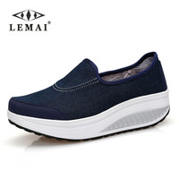 LEMAI 2017 Autumn women casual  platform shoes women breathable canvas shoes fashion platform sandals heel ladies shoes 35-40